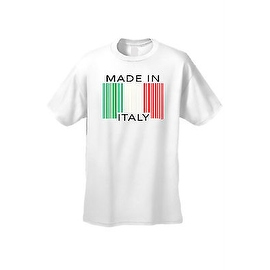 Men's Funny T-Shirt Made In Italy Humor Italian Pride Barcode Flag Jersey Shores