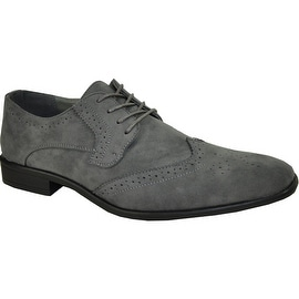 BRAVO Men Dress Shoe KING-3 Wingtip Oxford Shoe Grey - Wide Width Available (Option: 15)