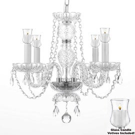 Crystal Chandelier Lighting With Candle Votives H17 x W17 For ...