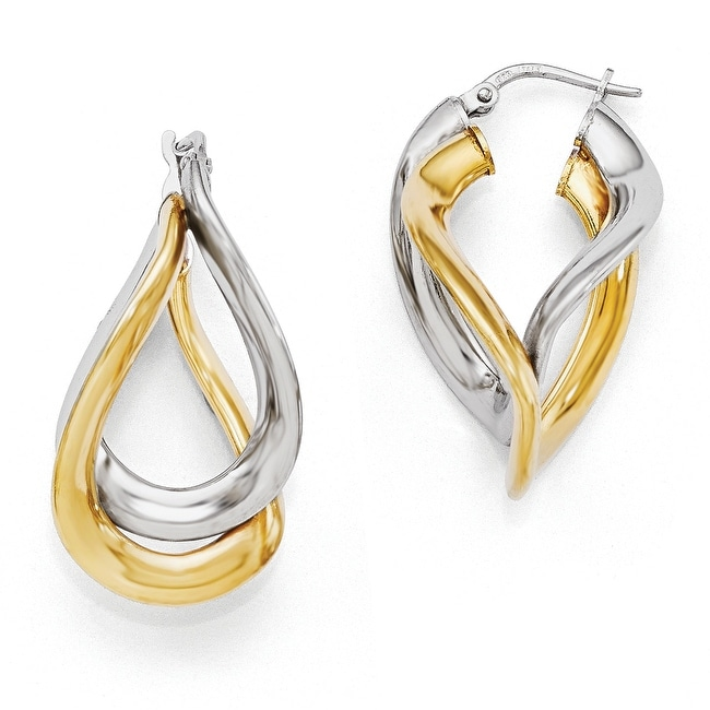 Italian Sterling Silver Gold-plated Polished Twisted Hoop Earrings