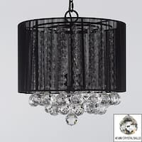 Crystal Chandelier Lighting With Large Black Shade & Balls H15 x W15