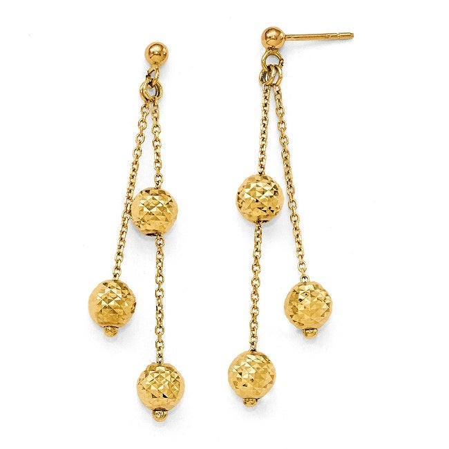 Italian 14k Gold Diamond Cut Earrings