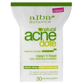 Alba Botanica Acnedote Clean 'n Treat Daily Cleansing Towelettes 30 ea