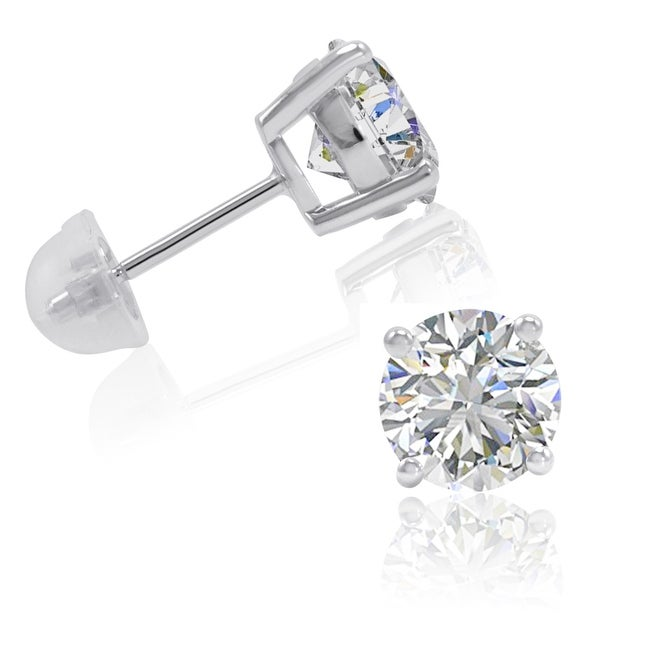 Amanda Rose Sterling Silver Round Stud Earrings made with Swarovski Cubic Zirconia ( 3ct tw)