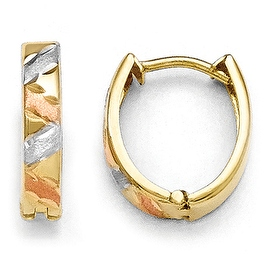 10k Two-Tone Gold & White Rhodium Polished & Satin Diamond Cut Earrings