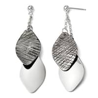 Italian Sterling Silver Ruthenium-plated Polished and Textured Post Earrings