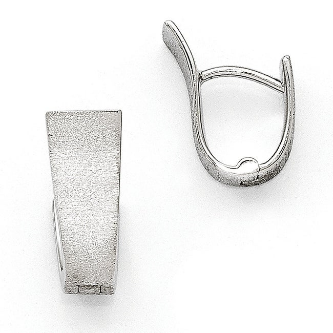 Sterling Silver Rhodium-plated Textured Hoop Earrings