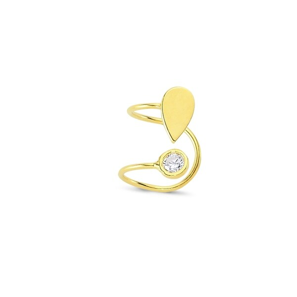 Amorium Tear Drop Cartilage Ear Cuff in Gold Plated Sterling Silver