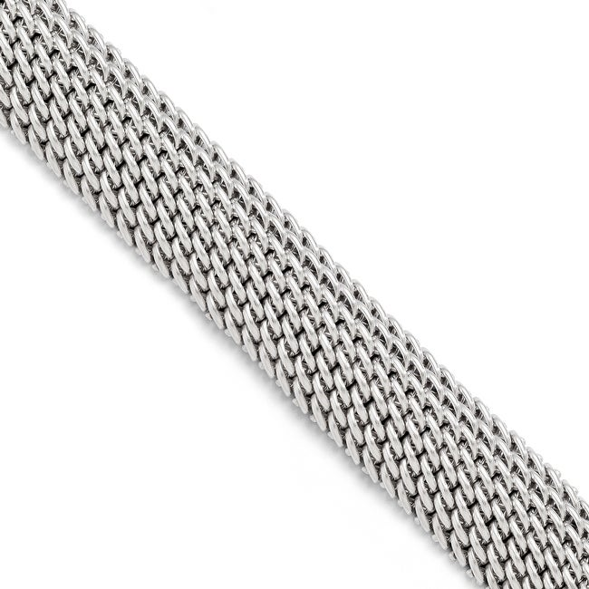 Italian Sterling Silver Polished Mesh Link Bracelet - 7.5 inches
