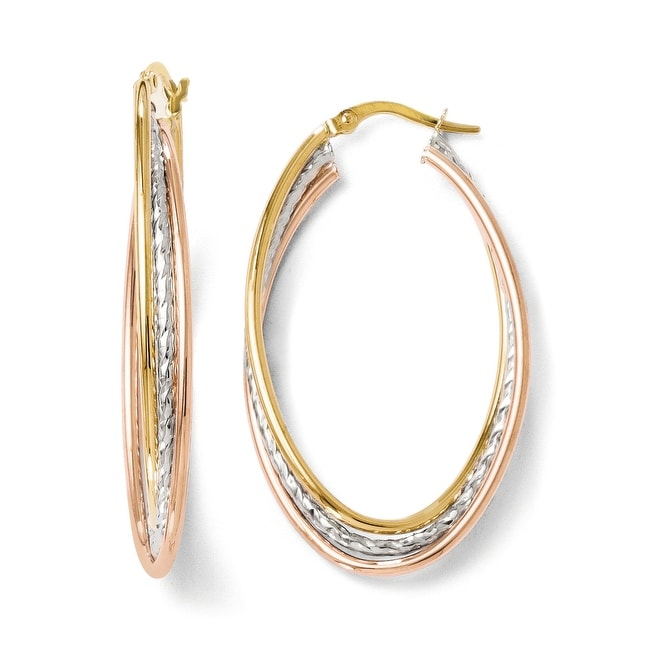 Italian 14k Tri-Color Gold Polished and Textured Oval Hoop Earrings