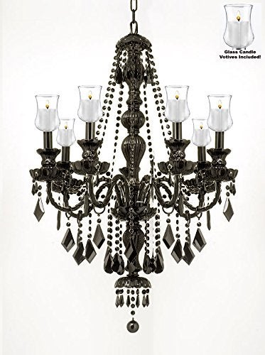 Crystal Chandelier Lighting With Candle Votives H30 W26 For Indoor/Outdoor Use
