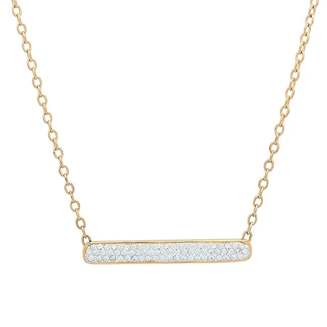 Amanda Rose Gold-Plated Sterling Silver Bar Necklace Made With Swarovski Crystals
