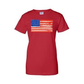 Women's USA Flag Juniors T-Shirt American Stars & Stripes Painted Pride Glory