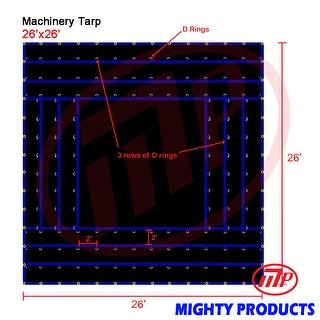 Xtarps - 26' x 26'  Truck Tarp - Machinery Tarp - Heavy Duty, Industrial Grade