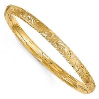 Italian 14k Gold Diamond Cut Bangle