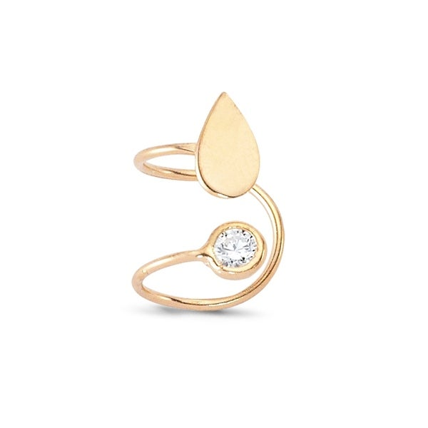 Amorium Tear Drop Cartilage Ear Cuff in 18K Rose Gold Plated Sterling Silver