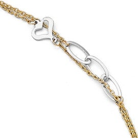 14k Two-Tone Gold Polished Double Strand Anklet with 1in ext - 9 inches