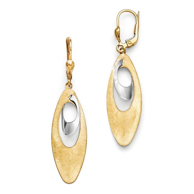 14k Two-Tone Gold Polished and Scratch Finish Leverback Earrings