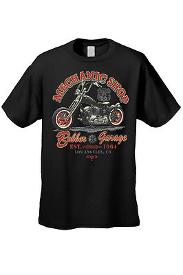 MEN'S BIKER T-SHIRT MOTORCYCLE MECHANIC SHOP BOBBER GARAGE L.A. S-XL 2X 3X 4X 5X