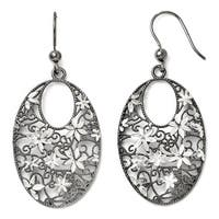 Italian Sterling Silver and Ruthenium-plated Shepherd Hook Earrings
