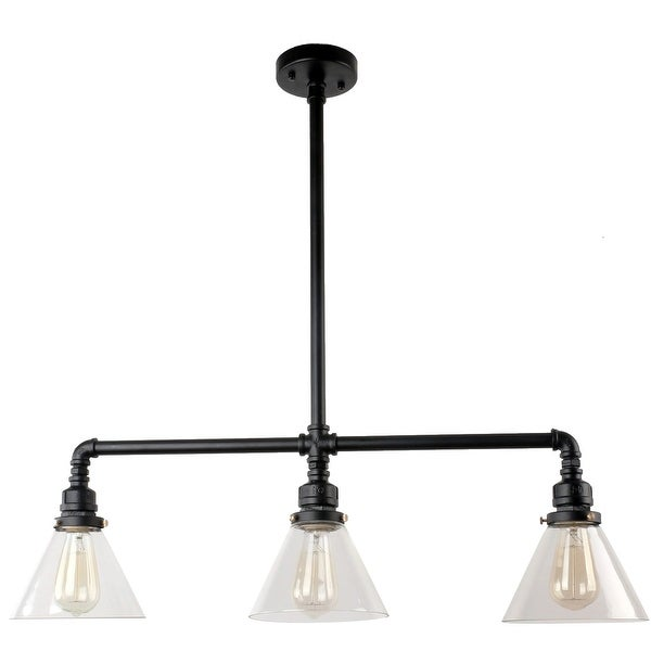 3 light black industrial pendant lamp light glass chandelier