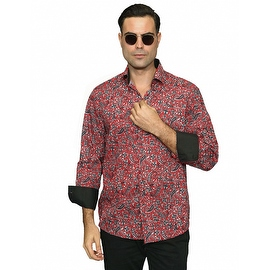 IN-60 Men's Manzini Red Paisley Design Cotton Shirt with Solid Trim