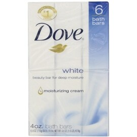Dove White Beauty Bar, 4 oz bars, 6 ea