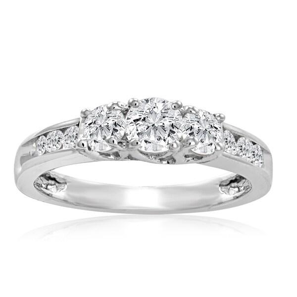 Amanda Rose IGI Certified 1ct tw Three Stone Plus Diamond Anniversary Ring set in 10K White Gold ( Available sizes 5-8)