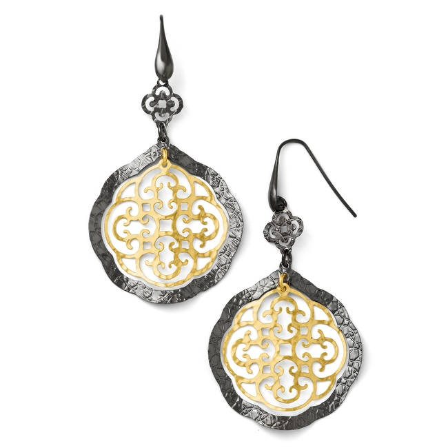 Italian Sterling Silver Italian, Ruthenium & Gold-Plated Italian 14K Flash Earrings