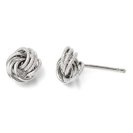 Italian 14k White Gold Polished and Texured Post Earrings