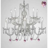 Empress Crystal Chandelier Lighting With Pink Crystal