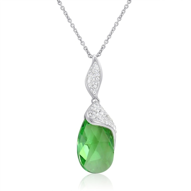 Amanda Rose Sterling Silver Tear Drop Pendant - Necklace made with Swarovski Crystals