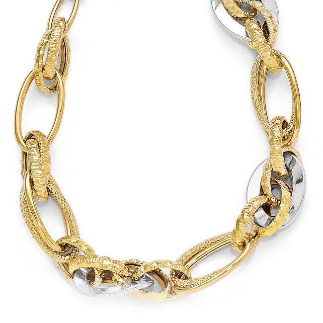 Italian 14k Two-Tone Gold Polished & Textured Fancy Link Necklace - 17 inches