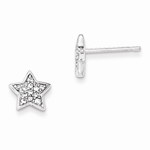 Amanda Rose Sterling Silver Cubic Zirconia Star Earrings