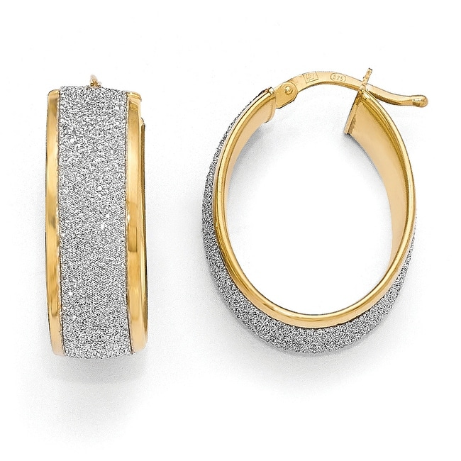 Italian Sterling Silver Gold-plated Glimmer Infused Hoop Earrings