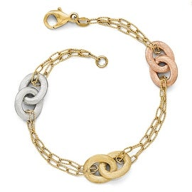 Italian 14k Tri-Color Gold Textured Diamond Cut Bracelet - 7.75 inches