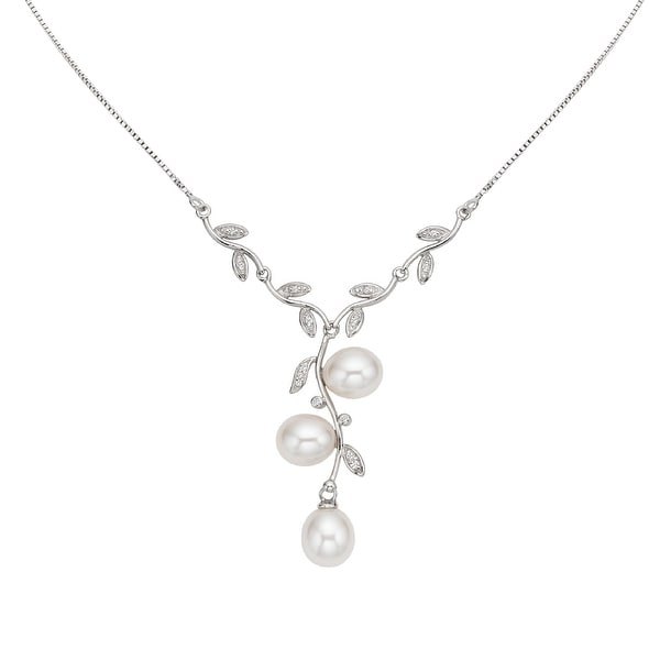 GIG Jewels Sterling Silver Chain White Cultured Freshwater Pearl and CZ Gemstones Leaf Shape Necklace