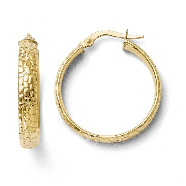 bc7d08142ee66 Italian 10k Gold Polished and Textured Hinged Hoop Earrings