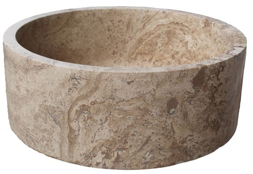 Cylindrical Natural Stone Vessel Sink - Afyon Noce Travertine