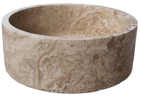 Cylindrical Natural Stone Vessel Sink - Afyon Noce Travertine