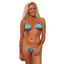 Women's 2-Piece Blue Beach Bikini True Timber Triangle Top & Tie Side Thong Swimwear Swimsuit