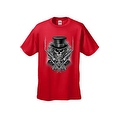 MEN'S BIKER T-SHIRT SKULL WITH TOP HAT CROSSED PISTOLS & ROSES S-XL 2X 3X 4X 5X - Thumbnail 6