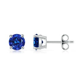 Angara 6mm Classic Four Prong Set Lab Created Blue Sapphire Basket Stud Earrings in Silver