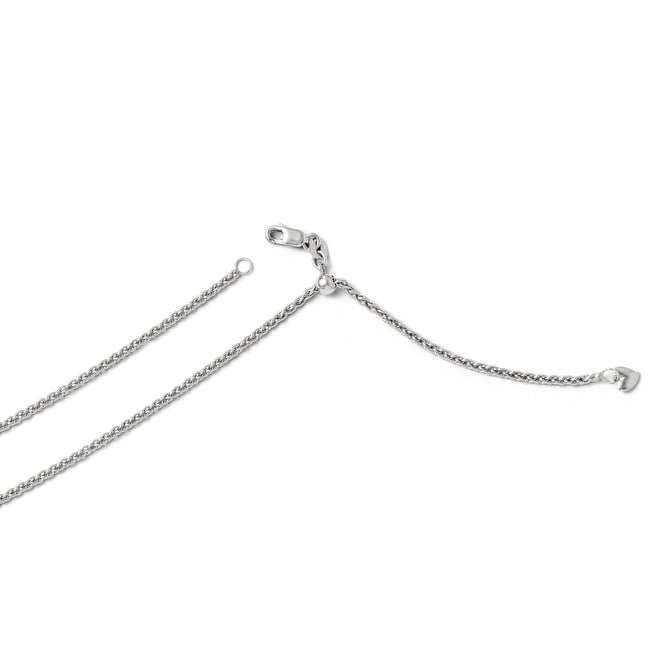 Italian 14k White Gold Adjustable Semi Solid Chain