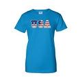 Women's USA Flag Juniors T-Shirt Stars & Stripes American Patriotic Pride Tee - Thumbnail 4