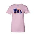 Women's USA Flag Juniors T-Shirt Red WHITE & Blue Stars & Stripes Pride Tee - Thumbnail 2