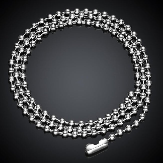 Beaded Stainless Stainless Steel Men's Chain 24 inches