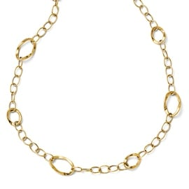 Italian 14k Gold Polished Fancy Link with 2in ext Necklace - 17 inches