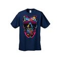 Men's T-Shirt Splattered Paint Colorful Skull W/ Shades Skeleton Graphic Tee - Thumbnail 5