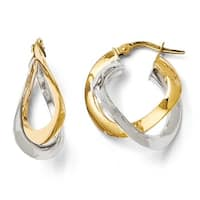 Italian 14k Two-Tone Gold Polished Twisted Double Hoop Earrings